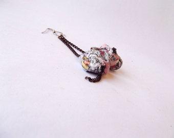 Paper earrings, paper bead earrings, paper jewelry, recycled paper earrings, unusual jewelry, long chain earrings, boho earrings, pink