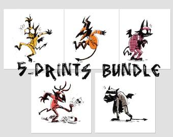 Ink Demon, Digital Art Print, small print, print set, minimal artwork, quirky decor, kids bedroom, funny wall art, creepy cute