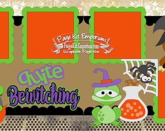 Scrapbook Page Kit Halloween Witch Quite Bewitching Costume Party 2 page Scrapbook Layout Kit 124