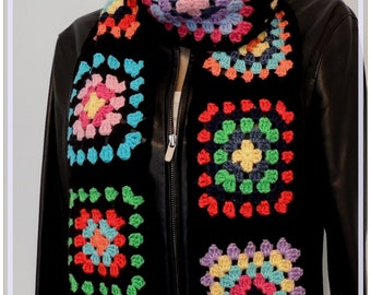 Scarf , Granny Square Scarf , Crochet scarf , Retro Scarf, Colorful  Scarf , Gift for her , Multicolor Scarf