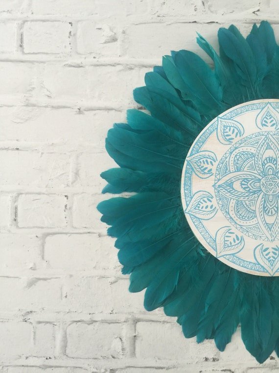 White Dream Mandala Turquoise Feathers Round Wall Art, Boho Design,  Timber Porthole