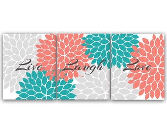 Bedroom Wall Art, Live Laugh Love, INSTANT DOWNLOAD Bath Art, Printable Modern Bedroom Wall Decor, Coral and Teal Bedroom Decor - HOME56