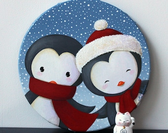 "Acrylic paint on round canvas: ""Snow"" (penguins)"