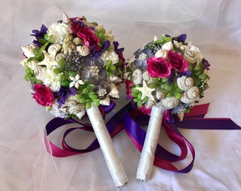 Beach Wedding Bouquets made with shells and flowers