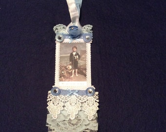 Birthday Gift Tag, Vintage Tag, Victorian Boy Tag, Embellished Tag, Hang  Tag, Lace Tag, OOAK