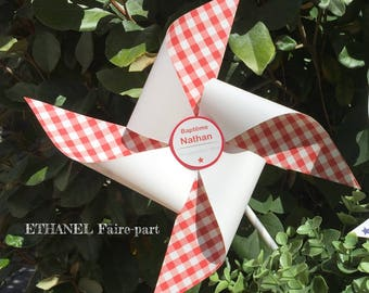 Set of 4 large pinwheels wind baptism red gingham