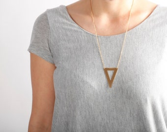 Geometric gold Triangle  necklace, layering gold necklace, geometric necklace, long gold  necklace