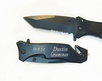 6 Groomsmen Gifts- Personalized  Black Rescue Hunting Pocket Knives ,Engraved Knives, Custom knives, Personalized Groomsman Knife Gifts-RP