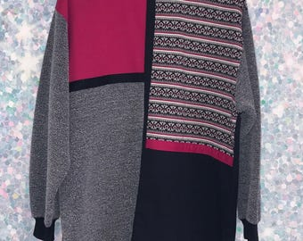 Vintage Pink and Black Colorblock Sweater
