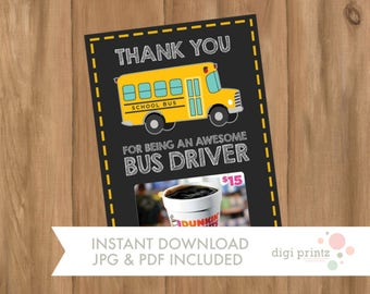 INSTANT DOWNLOAD, Gift Card Holder, Awesome Bus Driver, Gift Card Holder, Printable, Printable Gift Card