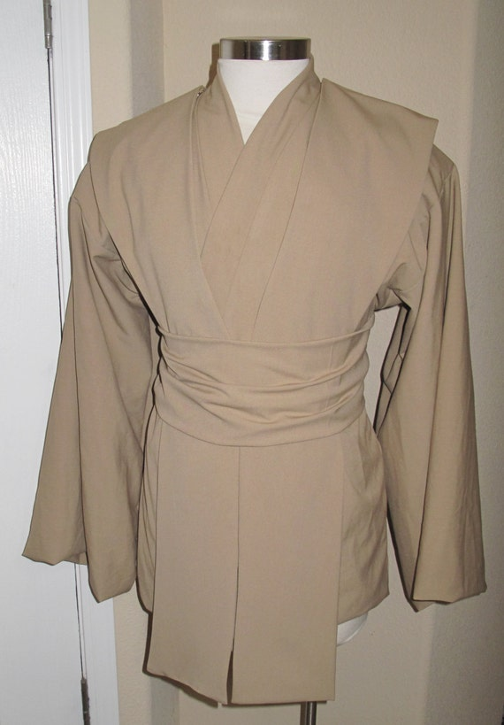 Jedi golden tan rayon poly suiting tunic and sash with beige pleather tabards 4 piece costume