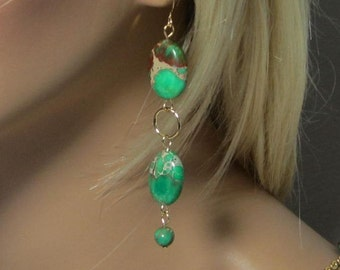 Earrings Emerald Green and Tan Brown Swirl Beads Turquoise Statement Gold or Silver