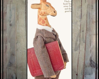 Prims folk art mixed media giraffe man anthropomorphic doll vintage book standing giraffe professor HAFAIR ofg faap lucys lazy dayz