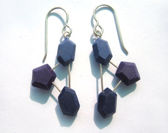 Modern Blue Earrings, statement earrings, geometric earrings, sterling silver, lightweight dangle, nickel free, contemporary silver, plastic