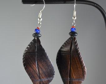 Unique wooden leaf earrings