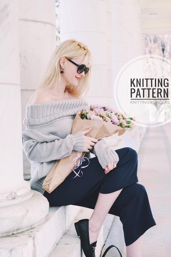 Knitting Pattern Sweater Off The Shoulder Turtleneck Easy