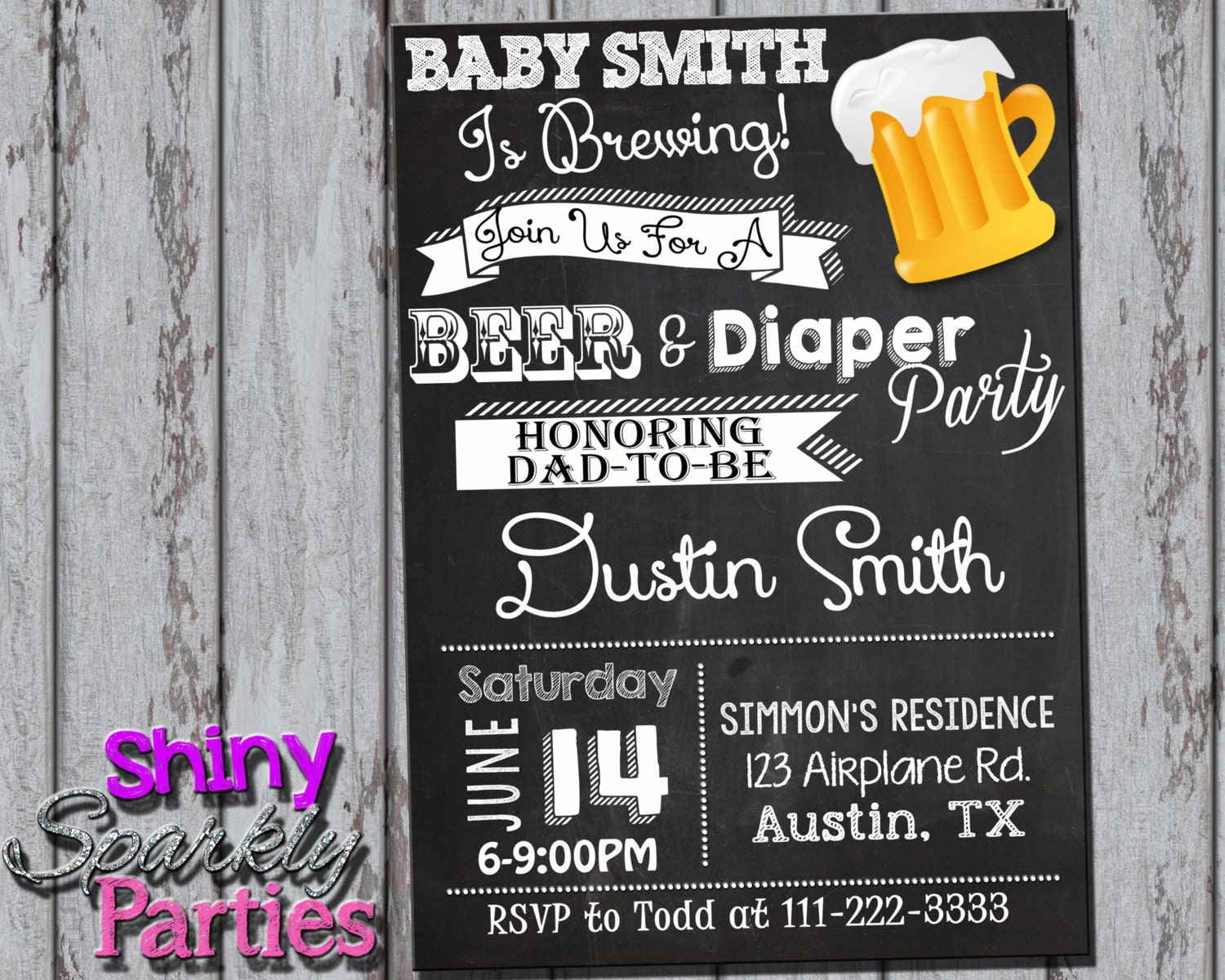 DIAPER PARTY INVITATION Couples Baby Shower Invitation Beer