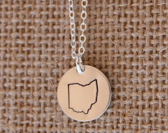 Ohio State Custom Necklace, Sterling Silver Ohio Necklace, Hand Stamped Ohio State Necklace, Silver Ohio Pendant Necklace for Her