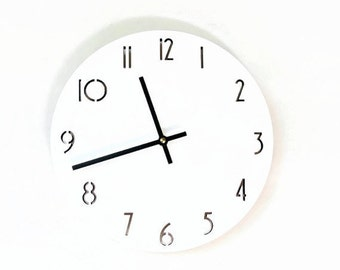 Wall Clock, White Clock, Minimalist Art,  Laser Cut Numbers,  Unique Wall Clock, Trending,  Decor and  Housewares,  Home and Living