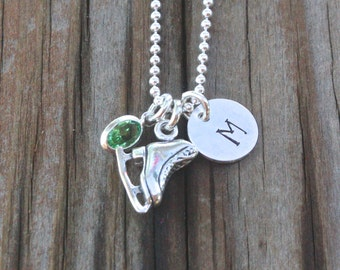 Ice Skating Necklace Ice Skater Jewelry Sterling Silver Personalized Skating Jewelry
