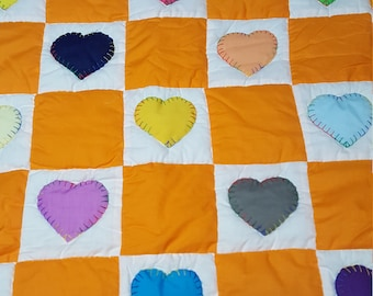 Hand quilted multicolor heart and orange square