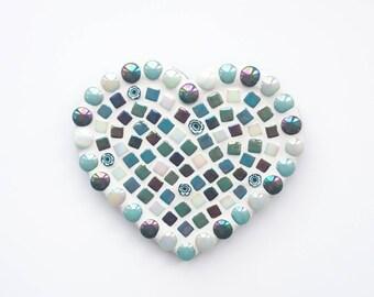 Green mosaic heart, Mosaic heart, Mosaic wall art, Wall hanging, Mosaic, Anniversary present, Gift for her, Birthday present, Love You gift
