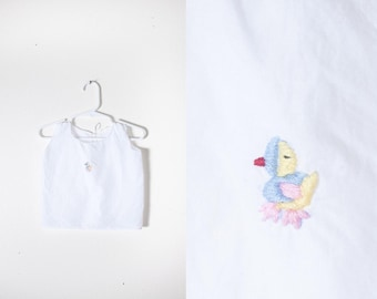 Bird Print White Pinafore Top, Embroidered Baby Shirt, 70s Baby Clothes, Baby Girl Blouse, Retro Baby Clothes, Baby Shower Gift Hipster Kids