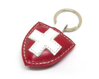 Swiss Flag Handmade Leather Keychain - FREE Shipping Worldwide - Switzerland Flag Leather Keychain White Cross Keychain Gift Ideas