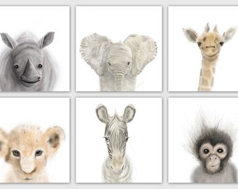 Safari Nursery Prints Set of 6, Nursery wall art, Animal Prints, Baby Decor