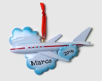 Airplane Personalized Ornament - Pilot - Vacation - Hand Personalized Christmas Ornament