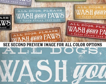 Dogs wash your paws graphic art typography illustration on canvas panel by stephen fowler