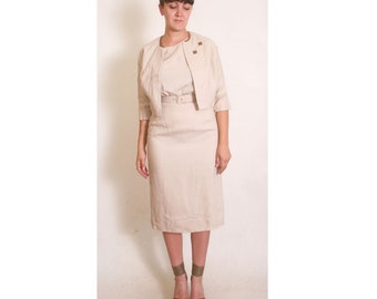 Vintage 1940s 50s Carl Naftal Originals California Beige Fitted Dress with Square Detailed Linen Jacket size M