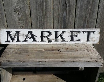 Market Rustic Sign, Wood Wall Art Farmhouse Kitchen Sign Fixer Upper Magnolia Market Style
