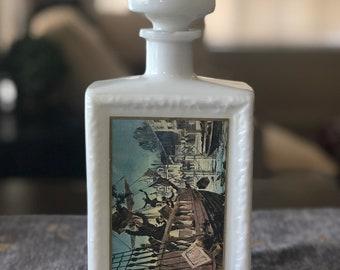 Vintage Jim Beam Milk Glass Whiskey Decanter 1968 Boston Tea Party