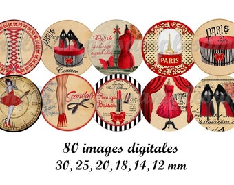 Digital collage sheet 1 inch circles Corset glamour Paris french printable download for pendants bottle caps bezel findings cabochon magnet