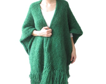 Plus Size Poncho, Wool Poncho, Over Size Poncho, Green Wool Poncho, Overcoat, Wool Coat, Fringed, Green, Big Size Clothing
