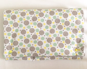 Changing pad Nomad carpet diaper girl, boy, cotton Terry changing pad and snap button, grey green and yellow