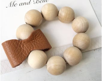 Leather bow Teething ring, Teething ring, Teething baby, baby gift, wooden toy, new mom gift, baby Teething ring, Leather bow, baby gift