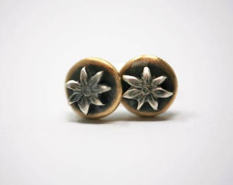 Mixed Metal Brass and Sterling Silver Flower Stud Earrings