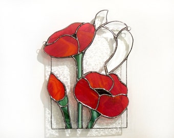 Suncatcher Stained Glass coquelicots panneau rouge coquelicot fait main OOAK