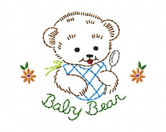 Baby Bear with Spoon and Bib Machine Embroidery Design 4x4 hoop, vintage colorwork linework, quick stitch, baby, INSTANT DOWNLOAD