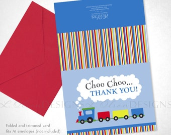 Choo Choo Thank You Card Size A2 - DIY Printable - INSTANT Download