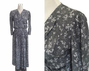 Floral Maxi Dress | 90's Dress | Vintage 1990's Dress | Swedish | Monochrome Black And White