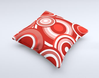 The Red and White Layered Vector Circles ink-Fuzed Decorative Throw Pillow