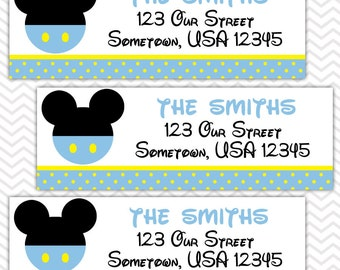 Baby Blue Mickey - Personalized Return Address labels, Envelope Seals, Stickers, Baby Shower, Birthday