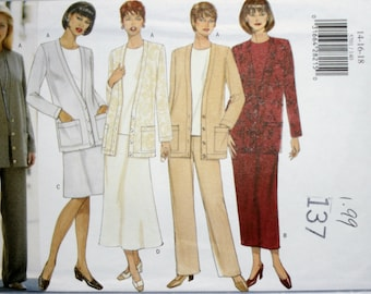 Butterick 5701 Misses Cardigan, Dress, Top, Skirt and Pants Sewing Pattern New/Uncut Size 14,16,18