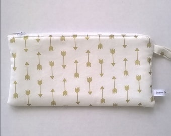 Gold Pencil Case - Personalized Pencil Pouch - Zipper Pouch - Pencil Case - Gifts Under 15