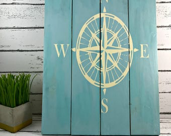 Compass Rose - Nautical Compass Sign - Nautical Decor - Beach House Decor - Coastal Decor - Adventure Sign - Travel Decor - Nautical Nursery