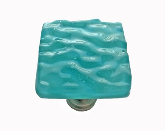 Turquoise Wave Glass Cabinet Knob in Textured Opaque Art Glass.  Beachy fused glass cabinet hardware for kitchen, bath, or furniture.