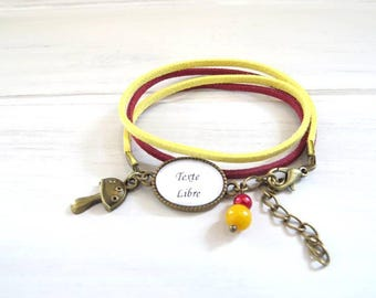 TO PERSONALIZE... Bracelet suede 2 rounds of text